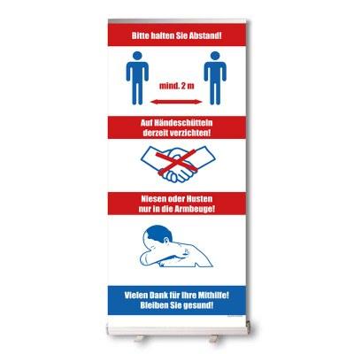 Bannerdisplay Roll-Up inkl. Banner Hygiene hinweise, Bannermass: 850x2.100mm mit Klemmleiste oben - unten geklebt - Roll-Up Schutz