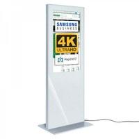 Digital Signage Digitale Info-Stele SLIM für den Inneneinsatz - Größe: 49 Zoll - 4K UHD Farbe: weiss - Digitale Infostele Slim einseitig 43 zoll weiss 4K