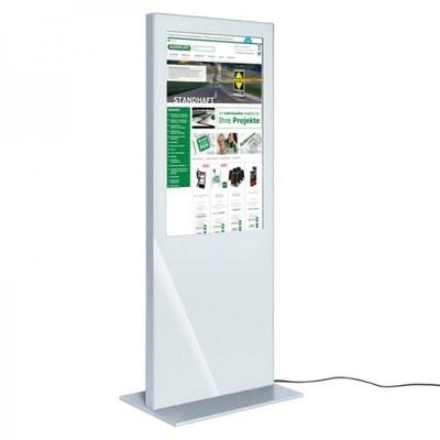 Digitale Info-Stele SLIM für den Inneneinsatz - Größe: 49 Zoll Farbe: weiss - digitale infostele slim einseitig 49 zoll weiss