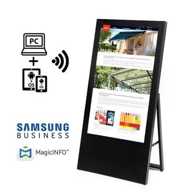 Digitaler Kundenstopper Ausführung: schwarz - einseitig 43 Zoll - digitaler kundenstopper 43 zoll schwarz start m logo 1