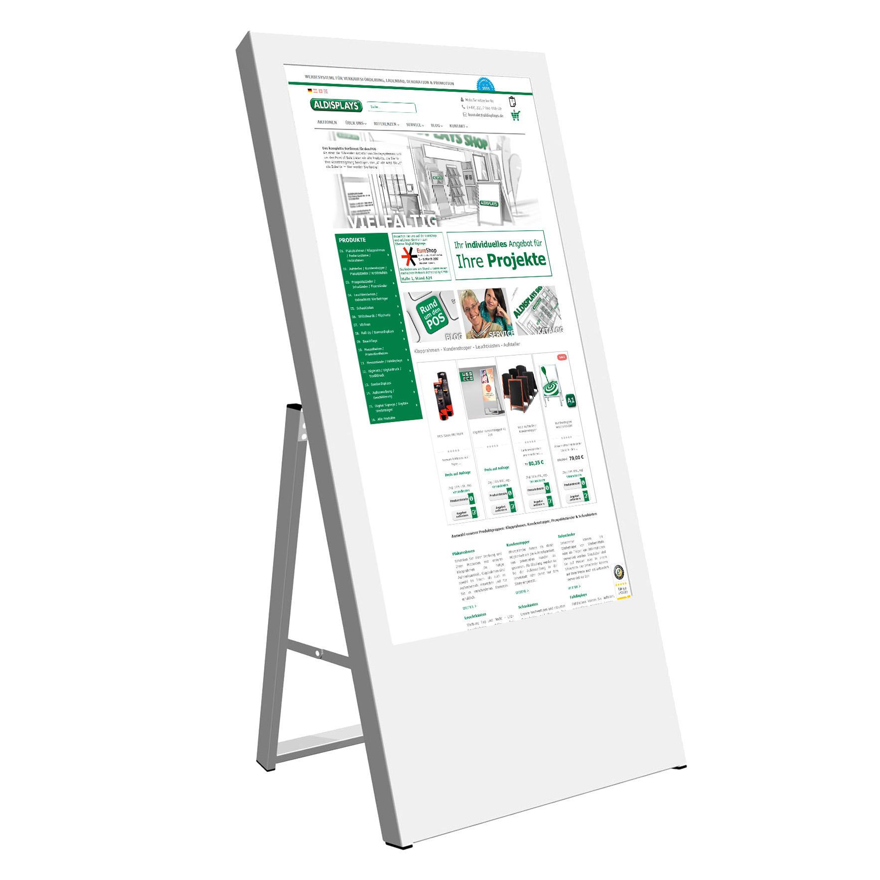 Digitaler Kundenstopper 43 Zoll weiss.jpg