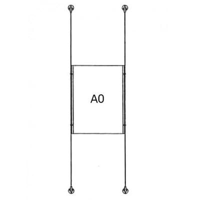 Drahtseilsystem Acryl Boden/Decke zum Verspannen zwischen Boden und Decke DIN A0 (841x1189 mm) - da-d-1xa0 - drahtseilsystem 1x din a0 hochformat 1