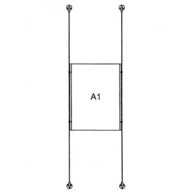 Drahtseilsystem Acryl Boden/Decke zum Verspannen zwischen Boden und Decke Format: 1x A1 (594x841 mm) HOCHFORMAT - da-d-1xa1 - drahtseilsystem 1x din a1 hochformat 1