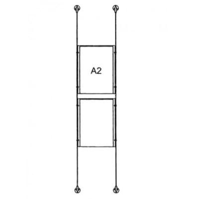 Drahtseilsystem Acryl Boden/Decke zum Verspannen zwischen Boden und Decke Format: 2x A2 (420x594 mm) HOCHFORMAT - da-bd-2xa2 - drahtseilsystem 2x din a2 hochformat
