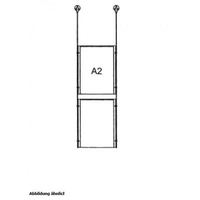 Drahtseilsystem Acryl Deckenabhängung zum Abhängen von der Decke Format: 2x A2 (420x594 mm) HOCHFORMAT - da-w-2xa2 - drahtseilsystem 2x din a2 hochformat decke