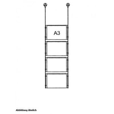 Drahtseilsystem Acryl Deckenabhängung zum Abhängen von der Decke Format: 4x A3 (420x297  mm) QUERFORMAT - da-d-4xa3 - drahtseilsystem 4x din a3 querformat decke