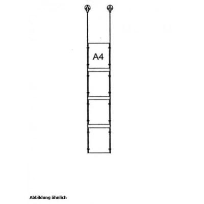 Drahtseilsystem Acryl Deckenabhängung zum Abhängen von der Decke Format: 4x A4 (210x297 mm) HOCHFORMAT - da-d-4xa4 - drahtseilsystem 4x din a4 hochformat decke