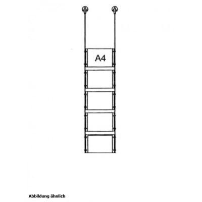 Drahtseilsystem Acryl Deckenabhängung zum Abhängen von der Decke Format: 5x A4 (210x297 mm) QUERFORMAT - da-d-5xa4 - drahtseilsystem 5x din a4 querformat decke