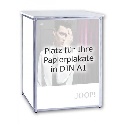 Promotiontheke ALLEGRO® PLUS Podest für 3 DIN A1 Plakate im Hochformat DIN A1 (594x841 mm) - plus-faltpodest plakat