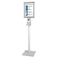 Hand-Desinfektionsständer PREMIUM Gesamthöhe 1.550 mm - Gewicht ca. 9,8 kg Quadratische, silberne Bodenplatte (350x350x4 mm) - Hand-Desinfektionsständer PREMIUM