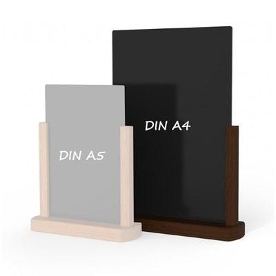 Holz-Tischaufsteller Kreidetafel DIN A4 Hochform. (210x297mm) Farbe des Holzrahmens: dunkelbraun - Holz-Tischaufsteller-DINA4-dunkelbraun