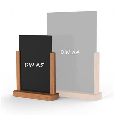 Holz-Tischaufsteller Kreidetafel DIN A5 Hochform. (148x210mm) Farbe des Holzrahmens: hellbraun - Holz-Tischaufsteller-DINA5-hellbraun