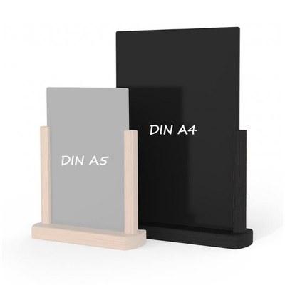 Holz-Tischaufsteller Kreidetafel DIN A4 Hochform. (210x297mm) Farbe des Holzrahmens: schwarz - Holz-Tischaufsteller-DINA4-schwarz