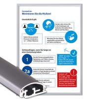 Klapprahmen mit Plakat Hygieneschutz Einlegeformat: DIN A1 (594 x 841 mm) Profil: 25mm Gehrung - Klapprahmen-25er-Profil Gehrung Hygiene-A1