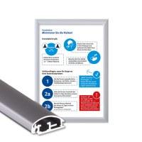 Klapprahmen mit Plakat Hygieneschutz Einlegeformat: DIN A4 (210x297 mm) Profil: 25mm Gehrung - Klapprahmen-25er-Profil Gehrung Hygiene-A4