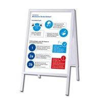 Kundenstopper OUTDOOR mit Plakaten Einlegeformat: DIN A1 (594x841 mm) Profil: 32mm Gehrung - silber-eloxiert - Kundenstopper-Outdoor-DIN A1-Gehrung mit Hygienehinweis
