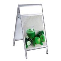 Kundenstopper PREMIUM Topper Einlegeformat: DIN A1 (594x841 mm) mit Info-Topper als Einschubrahmen (unbedruckt) - Kundenstopper-DIN A1-Premium-wasserdicht-mit Logoblende-unbedruckt