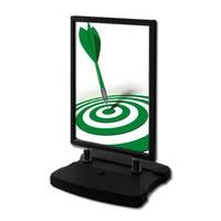 Kundenstopper Swing-Master ECO Einlegeformat: DIN A1 (594x841 mm) Profil: 38mm - Oberprofile: schwarz - Kundenstopper-Swingmaster- ECO-swz