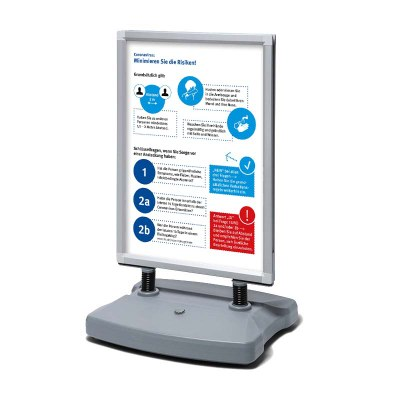 Kundenstopper Swing-Master ECO im Format DIN A1 inkl. 2 Plakaten Hygieneschutz DIN A1 Profil: 38mm - Oberprofile: silber-eloxiert (EV1) - swing-master-eco-dinA1-hygienehinweis-silber