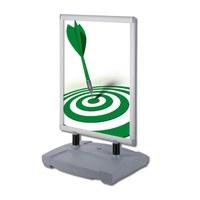 Kundenstopper Swing-Master PREMIUM Einlegeformat: 700x1.000 mm Profil: 40mm - Oberprofile: silber-eloxiert (EV1) - Kundenstopper-Swing-Master-Premium