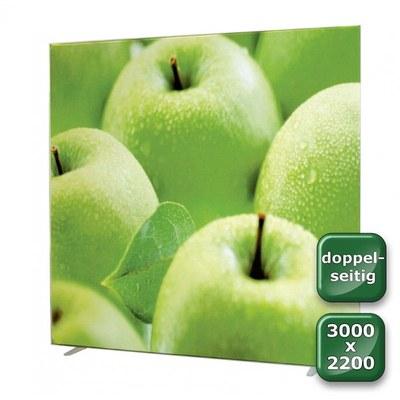 No-Frame Standdisplay Doppelseitig - Format: 3.000x2.200 mm Farbe: silber-eloxiert - mit beidseitiger, - NOFrame-doppelseitig-3000x2200