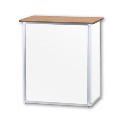Promotiontheke ALLEGRO®-Minitheke inkl. Deckelplatte (Buche) & Einlegebode 3-teilige Aluminium-Rahmenreihe (silber-eloxiert) - Mini-Theke-Buche-ohne-Druck 2