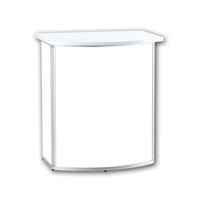 Promotiontheke ALLEGRO®-Rondotheke inkl. Deckelplatte (weiß) & Einlegeboden 3-teilige Aluminium-Rahmenreihe (silber-eloxiert) - Rondotheke-Ohne Druck 2