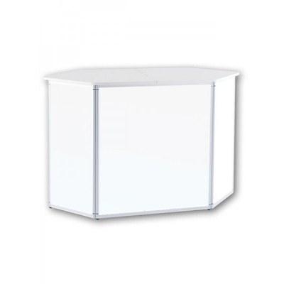 Promotiontheke ALLEGRO®-Sechsecktheke inkl. Deckelplatte (weiß) & Einlegeboden 3-teilige Aluminium-Rahmenreihe (silber-eloxiert) - sechseckthek ohne druck
