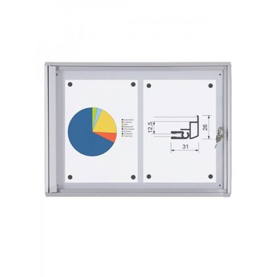 Schaukasten ECO BT26 Indoor 1x2 DIN A4 (Außenformat: 491x350mm) Gehäuse und Rahmen aus Aluminium - Schaukasten BT26  Indoor 1x2