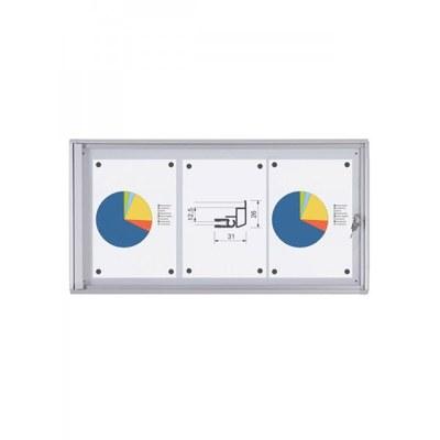 Schaukasten ECO BT26 Indoor 1x3 DIN A4 (Außenformat: 711x350mm) Gehäuse und Rahmen aus Aluminium - Schaukasten BT26  Indoor 1x3
