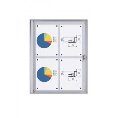 Schaukasten ECO BT26 Indoor 2x2 DIN A4 (Außenformat: 491x655mm) Gehäuse und Rahmen aus Aluminium - Schaukasten BT26  Indoor 2x2