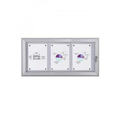 Schaukasten Flat BT23 Indoor/Outdoor 3x1 DIN A4 (Außenformat: 741x388mm) Gehäuse und Rahmen aus Aluminium - Schaukasten FLAT BT23 Indoor Outdoor 3x1