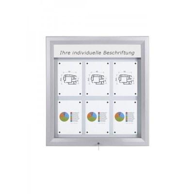 Schaukasten Premium BT46 Outdoor LED 3x2 DIN A4 (Außenformat: 805x760mm) Gehäuse und Rahmen aus Aluminium - Schaukasten PREMIUM LED BT46 Outdoor 3x2