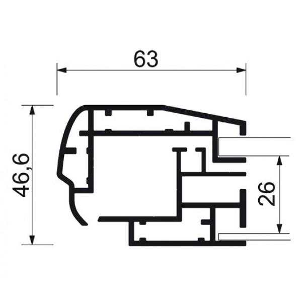 schaukasten premium led bt46 outdoor detail profilquerschnitt 2