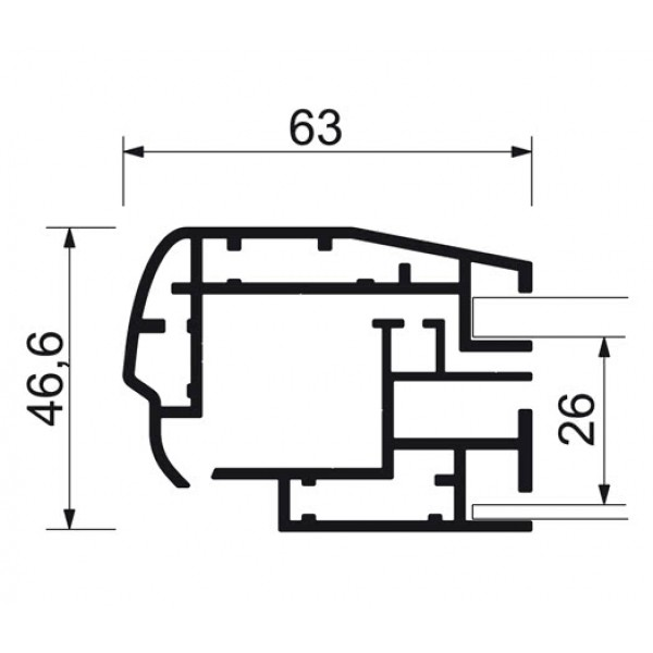 schaukasten premium led bt46 outdoor detail profilquerschnitt 3